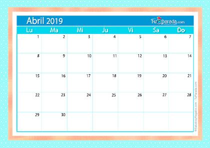 Calendario Deco - Abril 2019
