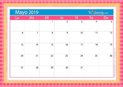 Calendario Mayo2019.Calendario Deco Mayo 2019 Calendario Deco 2019 Tarjetas