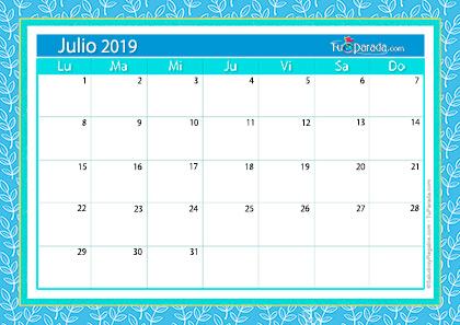 Julio Calendario.Calendario Deco Julio 2019 Calendario Deco 2019 Tarjetas