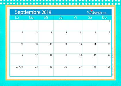 Calendario De Septiembre.Calendario Deco Septiembre 2019 Calendario Deco 2019 Tarjetas