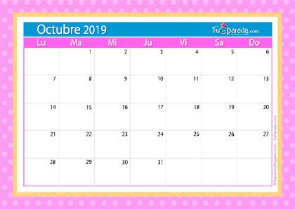 Calendario Deco - Octubre 2019