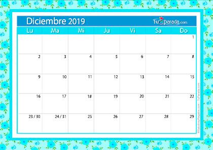 Calendario Deco - Diciembre 2019