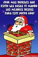 Los mejores deseos con Papá Noel en chimenea