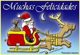 Muchas felicidades con Papá Noel en trineo