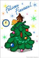 Felices fiestas con árbol y reloj