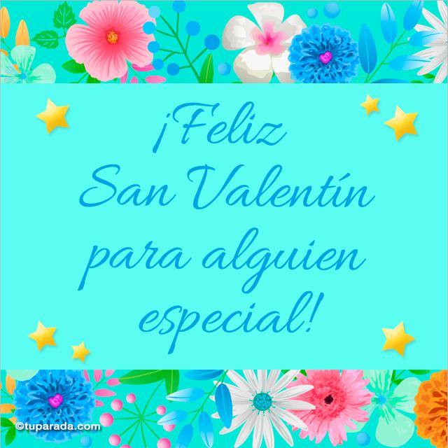 Tarjeta - Imagen de San Valentín en celeste