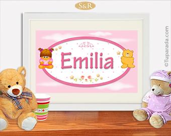 Nombres con diseño infantil en rosa personalizado