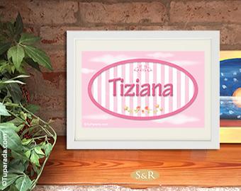 Diseño de nombre con rayas rosas