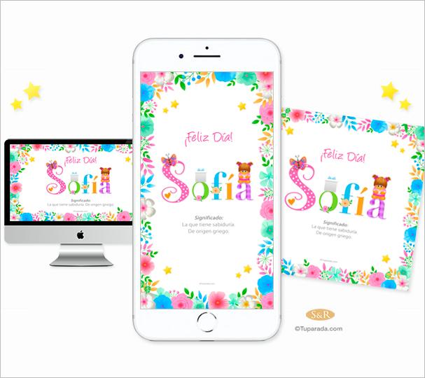 Nombre personalizado con flores para móviles