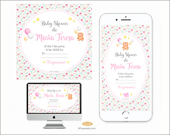 Baby Shower: Little bear and roses