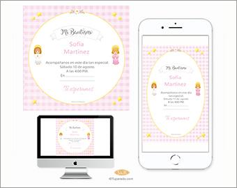 Invitación de Bautismo Angels in pink