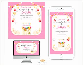 Invitación de cumpleaños con ositos en rosa