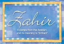 Name Zahir