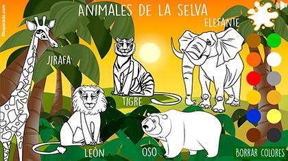 Animales de la selva para pintar