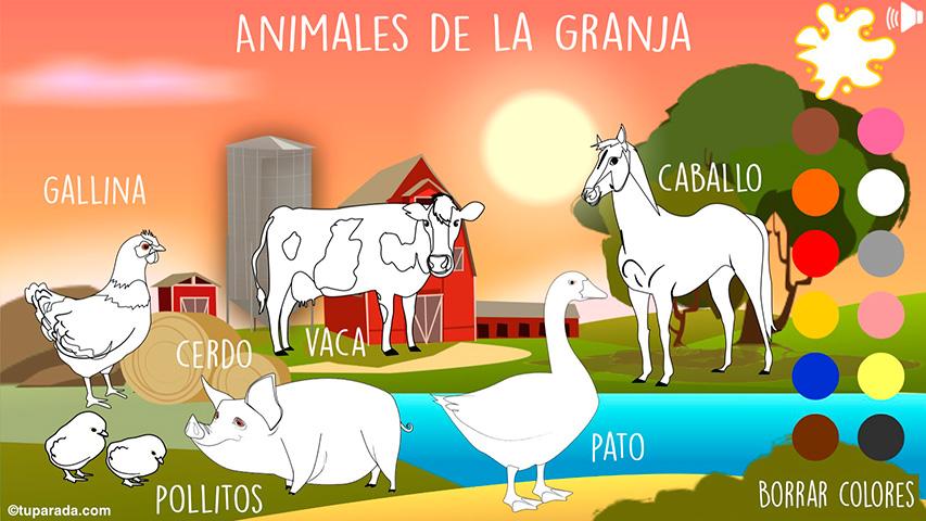 Animales de la granja para colorear
