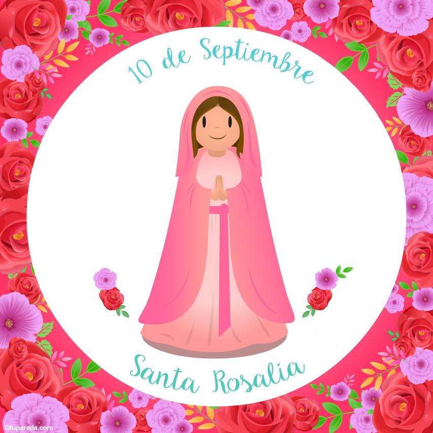 Tarjeta - Día de Santa Rosalía, 10 de septiembre