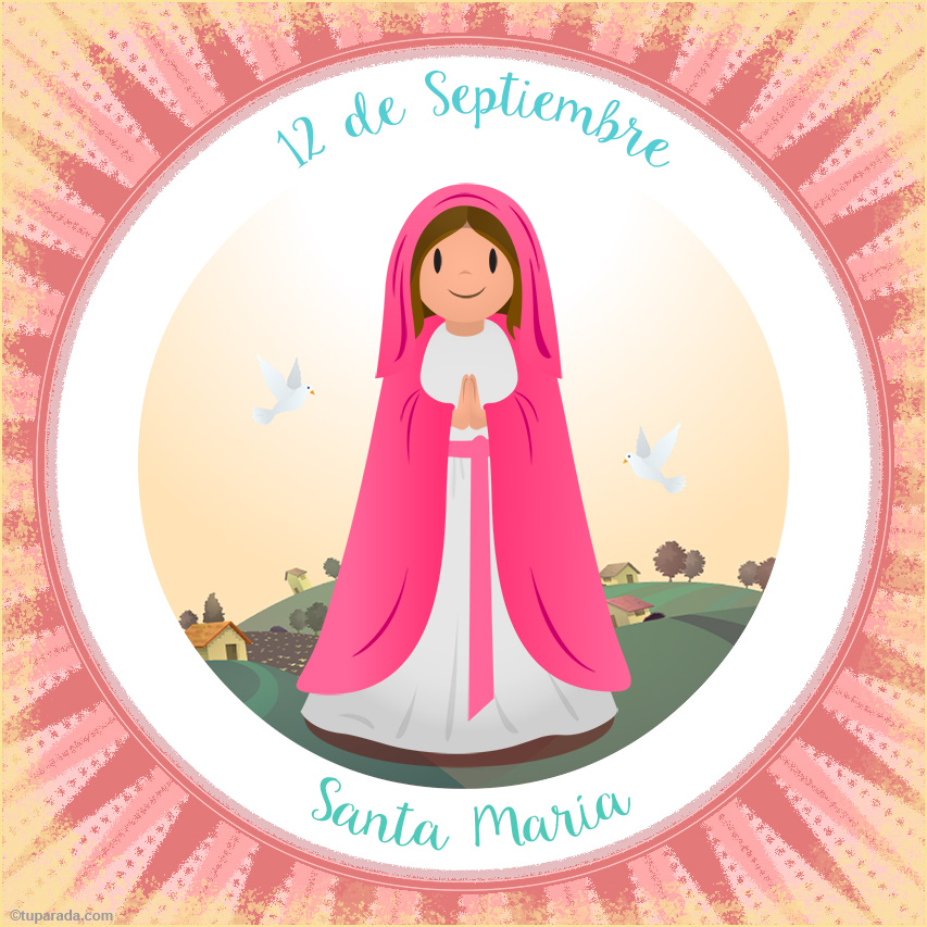 Tarjeta - Día de Santa María, 12 de septiembre
