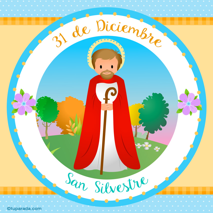 Tarjeta - Día de San Silvestre, 31 de diciembre