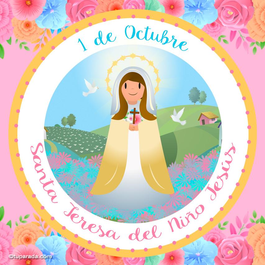 Tarjeta - Día de Santa Teresa del Niño Jesús, 1 de octubre