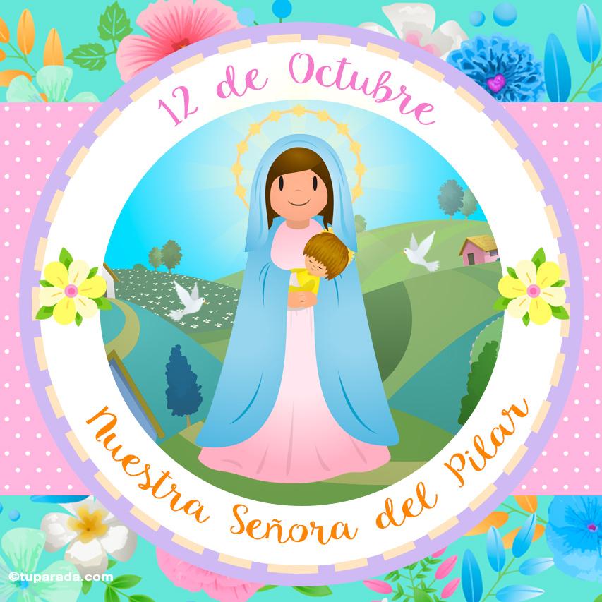 Tarjeta - Día de Nuestra Señora del Pilar, 12 de octubre