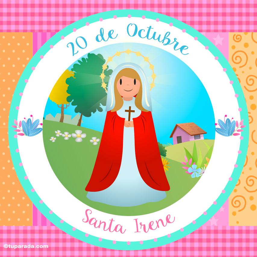 Tarjeta - Día de Santa Irene, 20 de octubre