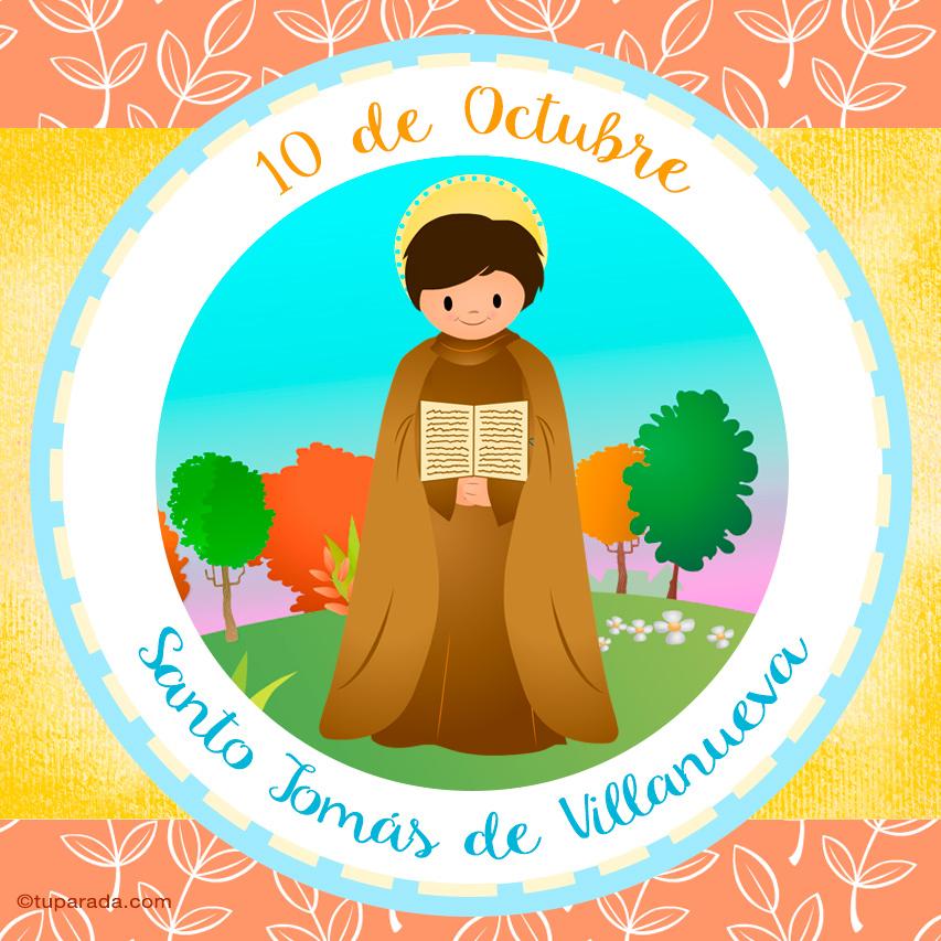 Tarjeta - Día de Santo Tomás de Villanueva, 10 de octubre