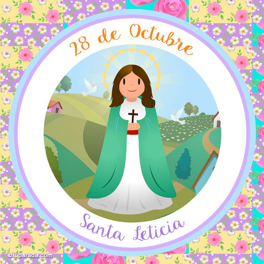 Tarjeta - Día de Santa Leticia, 28 de octubre