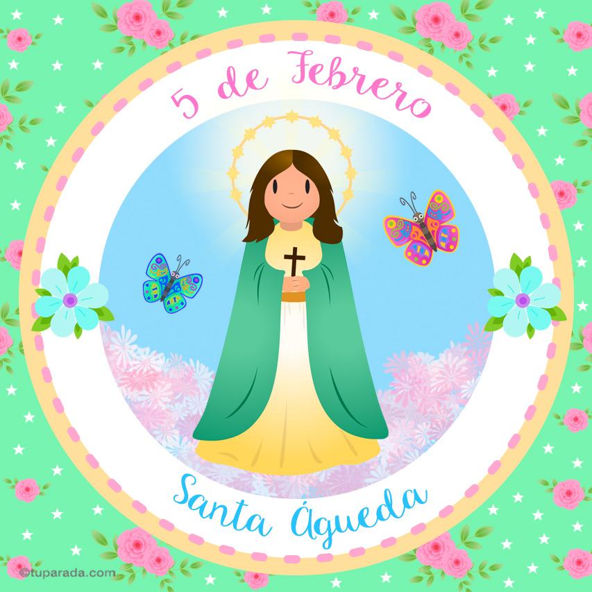 Tarjeta - Día de Santa Águeda, 5 de febrero