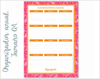 Organizador anual Deco Rosa A4