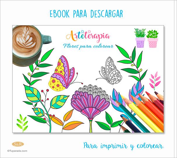 Ebook: Arteterapia - Flores para colorear