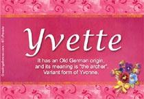 Name Yvette