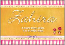 Name Zahira