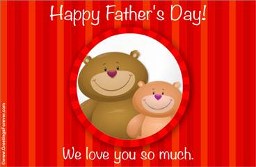 Happy Father's Day in red with bears