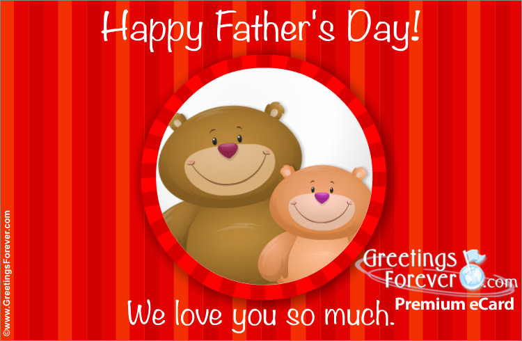 Ecard - Happy Father's Day in red with bears