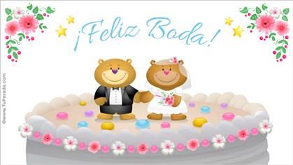 Tarjeta de bodas con osos
