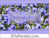 Tarjeta de bodas con florcitas lilas