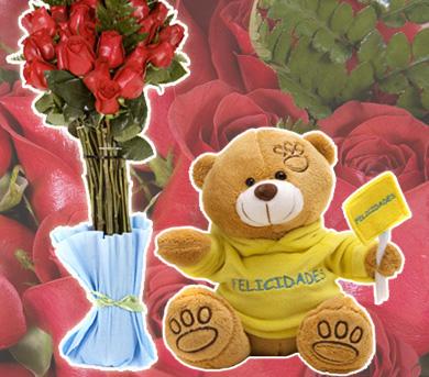 Oso y rosas - Felicidades