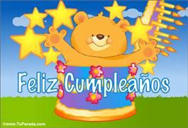 Tarjeta de feliz cumpleaños con torta