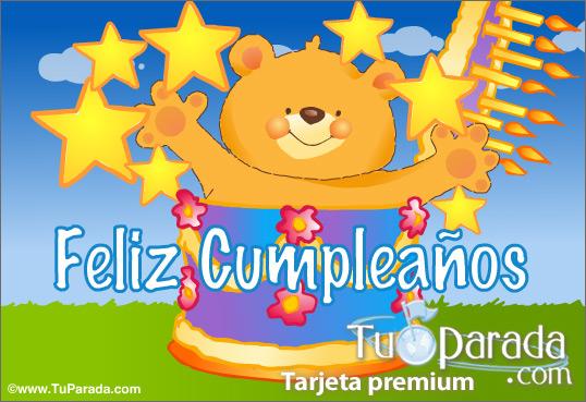 Tarjeta - Tarjeta de feliz cumpleaños con torta
