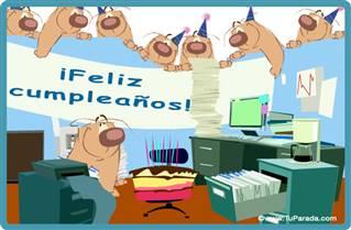 Tarjeta de cumpleaños en la oficina
