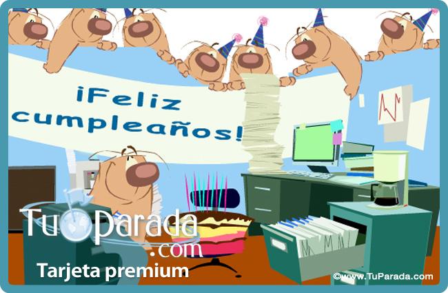 Tarjeta - Tarjeta de cumpleaños en la oficina