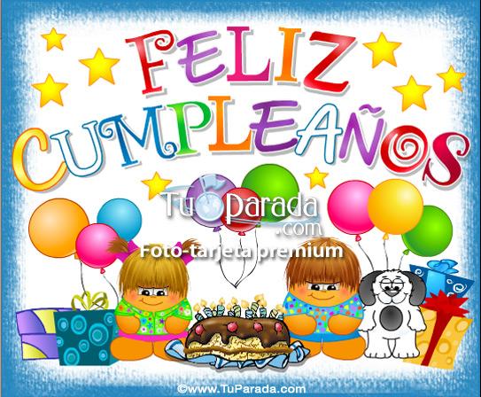 Tarjeta - Feliz cumpleaños con festejo y gordis