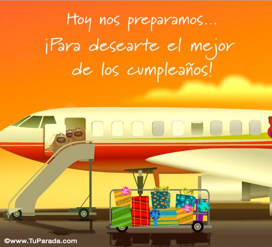 Tarjeta - Tarjeta de avión para cumpleaños