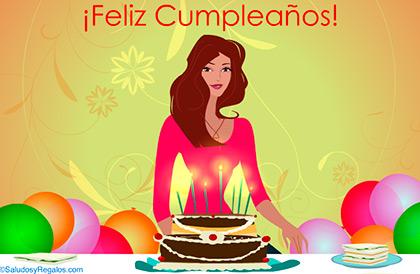 Feliz Cumpleaños con torta para mujer