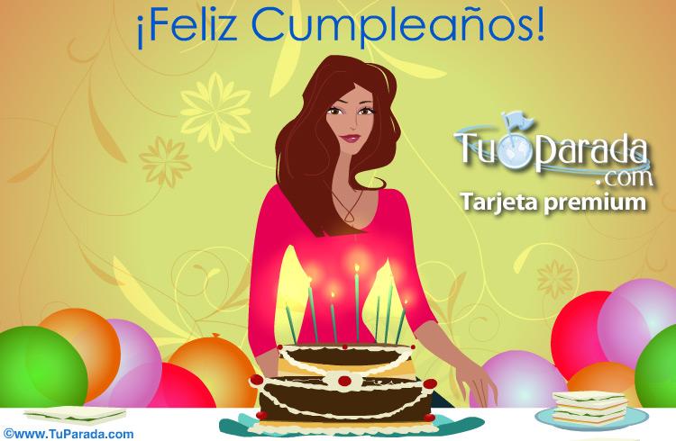 Tarjeta - Feliz Cumpleaños con torta para mujer