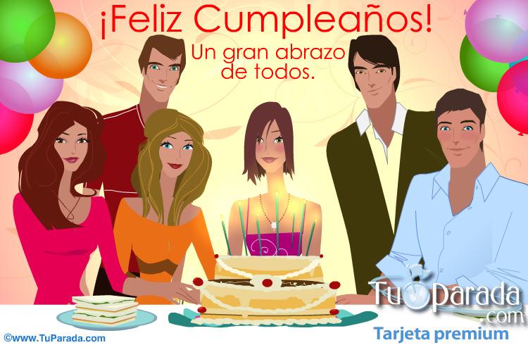 Tarjeta - Tarjeta de cumpleaños de grupo para mujer.