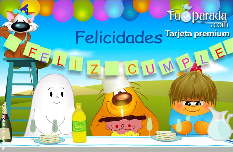 Tarjeta - Tarjeta de cumpleaños con torta