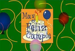 Cumpleaños con torta y globos