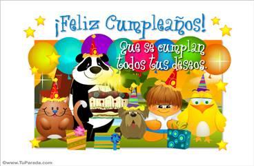 Feliz cumpleaños con oso panda