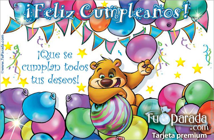 Tarjeta - Tarjeta de feliz cumpleaños con globos